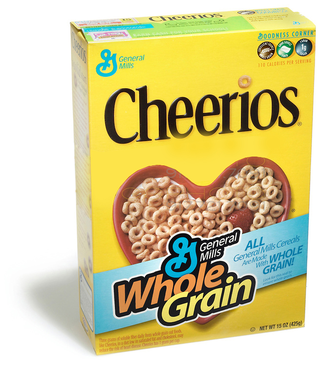 Cheerios cereal box photographed on a white background.