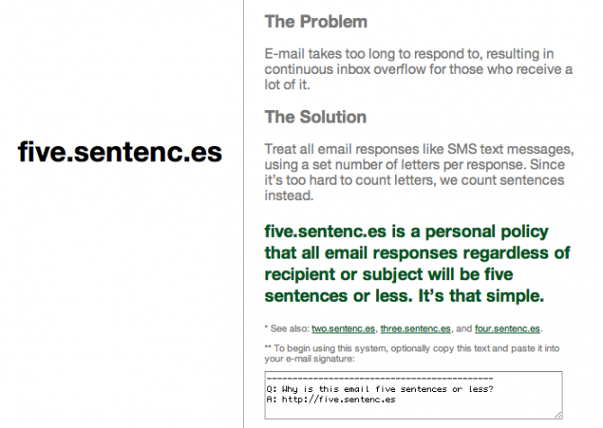 Five Sentences website