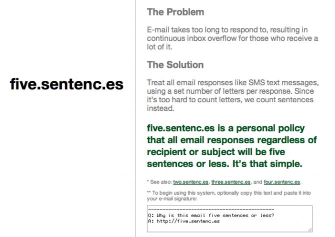 Five Sentences website
