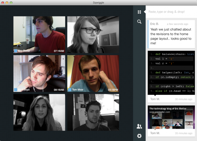 Sqwiggle screenshot of remote working