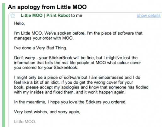 Email from Little Moo