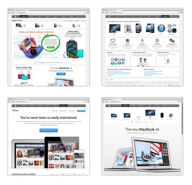 Screenshots of different Apple micro sites