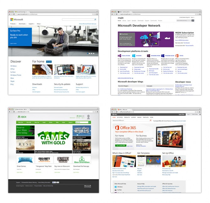 Screenshots of different Microsoft micro sites