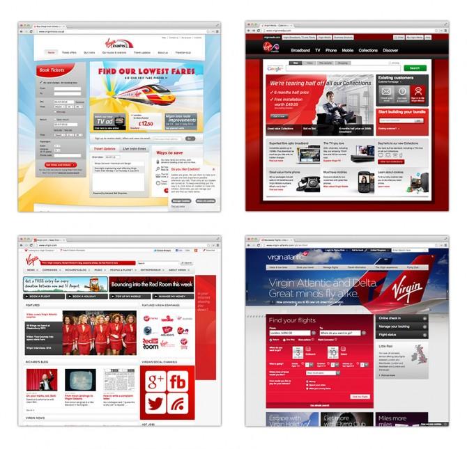 Screenshots of different Virgin micro sites