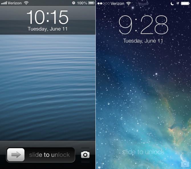 iOS6 lock screen compared to iOS7 flat design