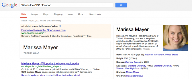 Google showing extracts from Wikipedia