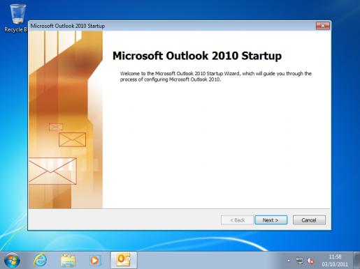 Outlook Setup Screen