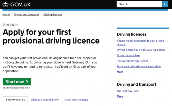 A page from the gov.uk website