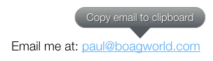 Email popover offering to copy to clipboard