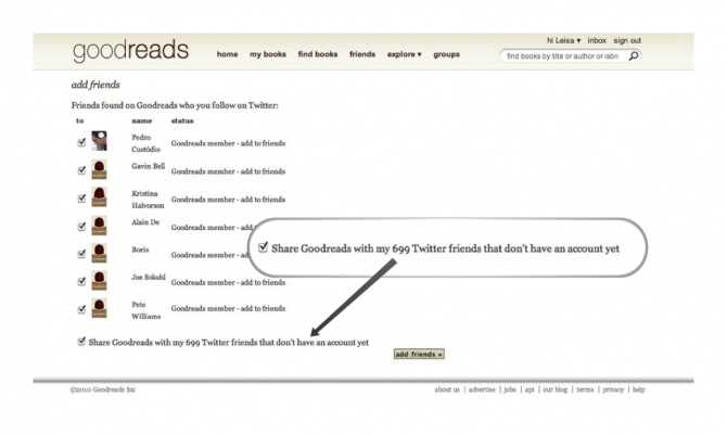 Goodread will spam your twitter friends unless you spot a tiny checkbox.