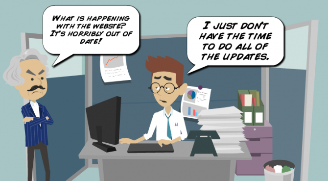 A website owner feeling overwhelmed by the amount of work to do on the website.