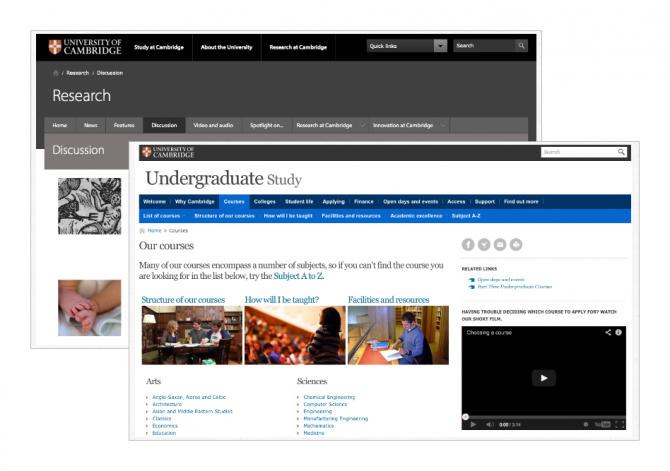 University of Cambridge website