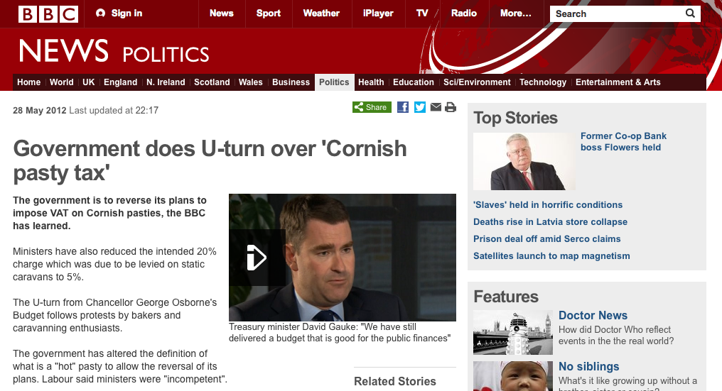BBC news story on the Governments u-turn over pasty tax
