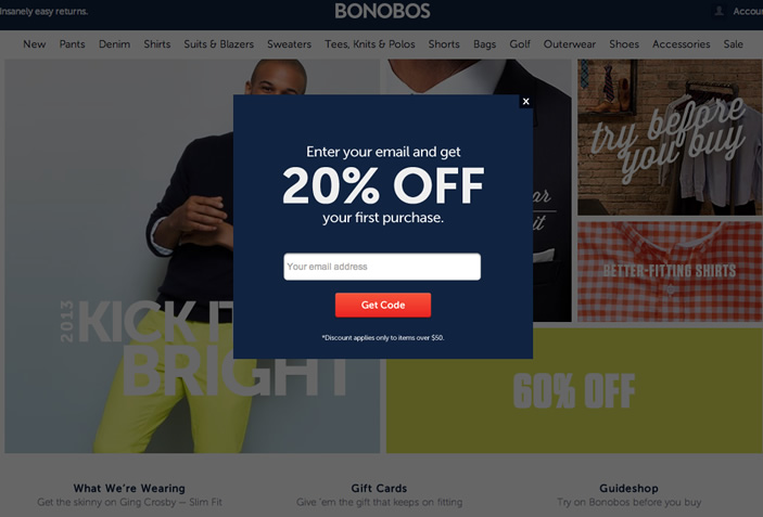 Example of newsletter popup on an ecommerce site