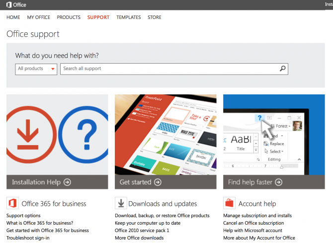 Microsoft Office Support Pages