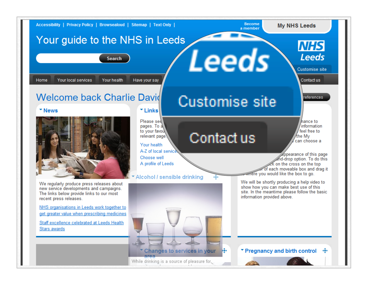 Customisation on the NHS Leeds sites