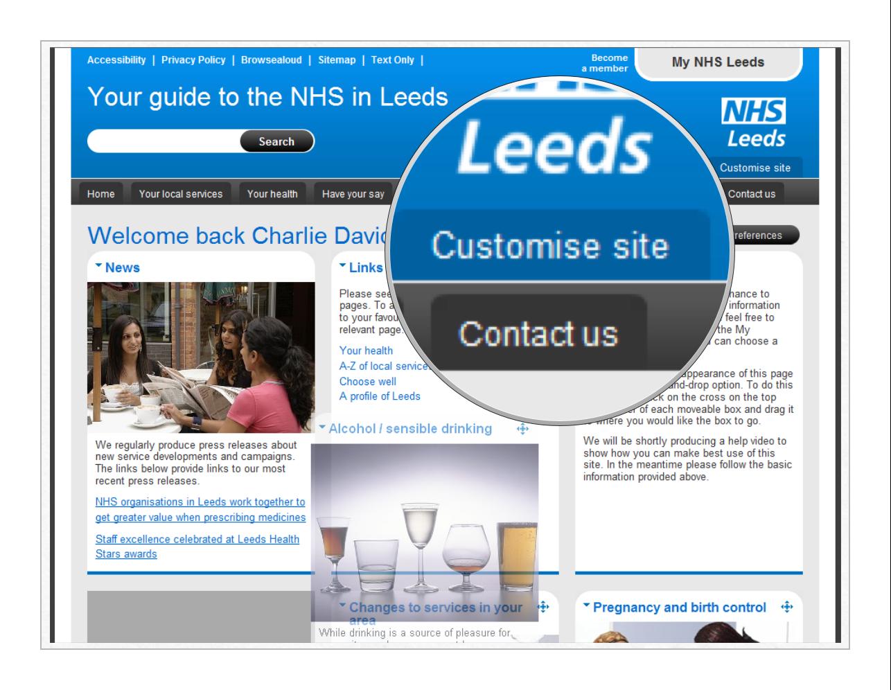 Customisation on the NHS Leeds sites