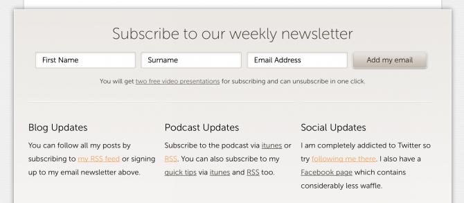 Old newsletter subscription box
