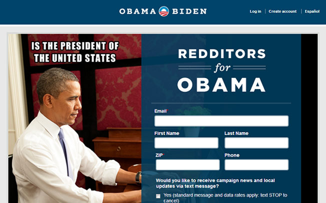 Reddit users Obama campaign page