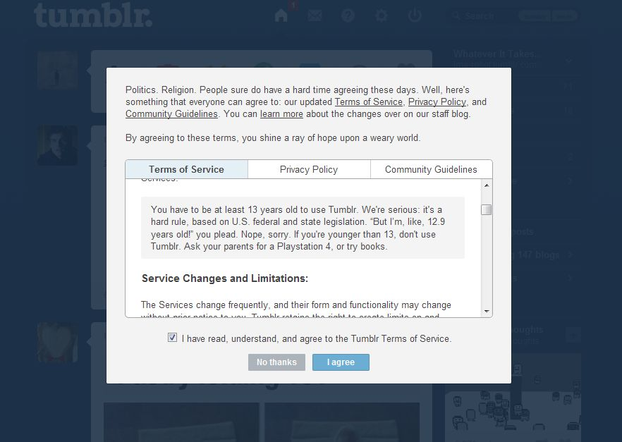 Tumblr terms and conditions