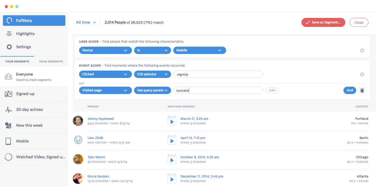 You can search for user sessions based on what DOM elements they interact with.
