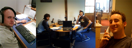 Our most complicated setup to date! Ryan in the studio, Craig and Dave in the barn and Stanton on the phone.