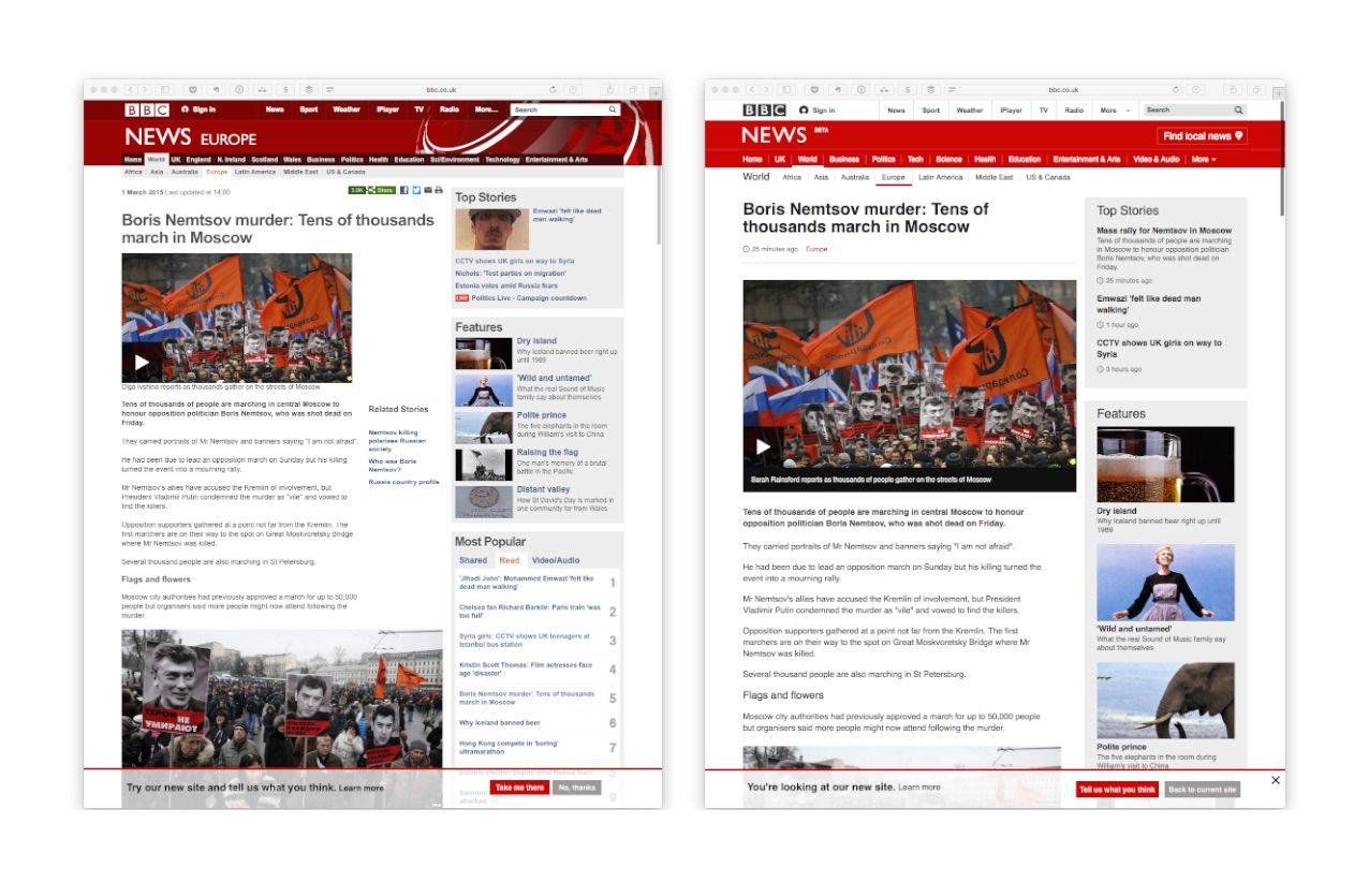 The new site is significantly more legible than the old.