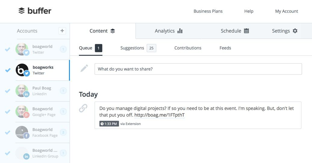 Buffer allows me to manage my social networks quickly and without interupting my workflow.