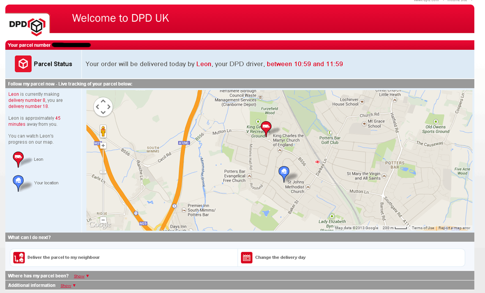 DPD allow you to track exactly when your package will arrive.