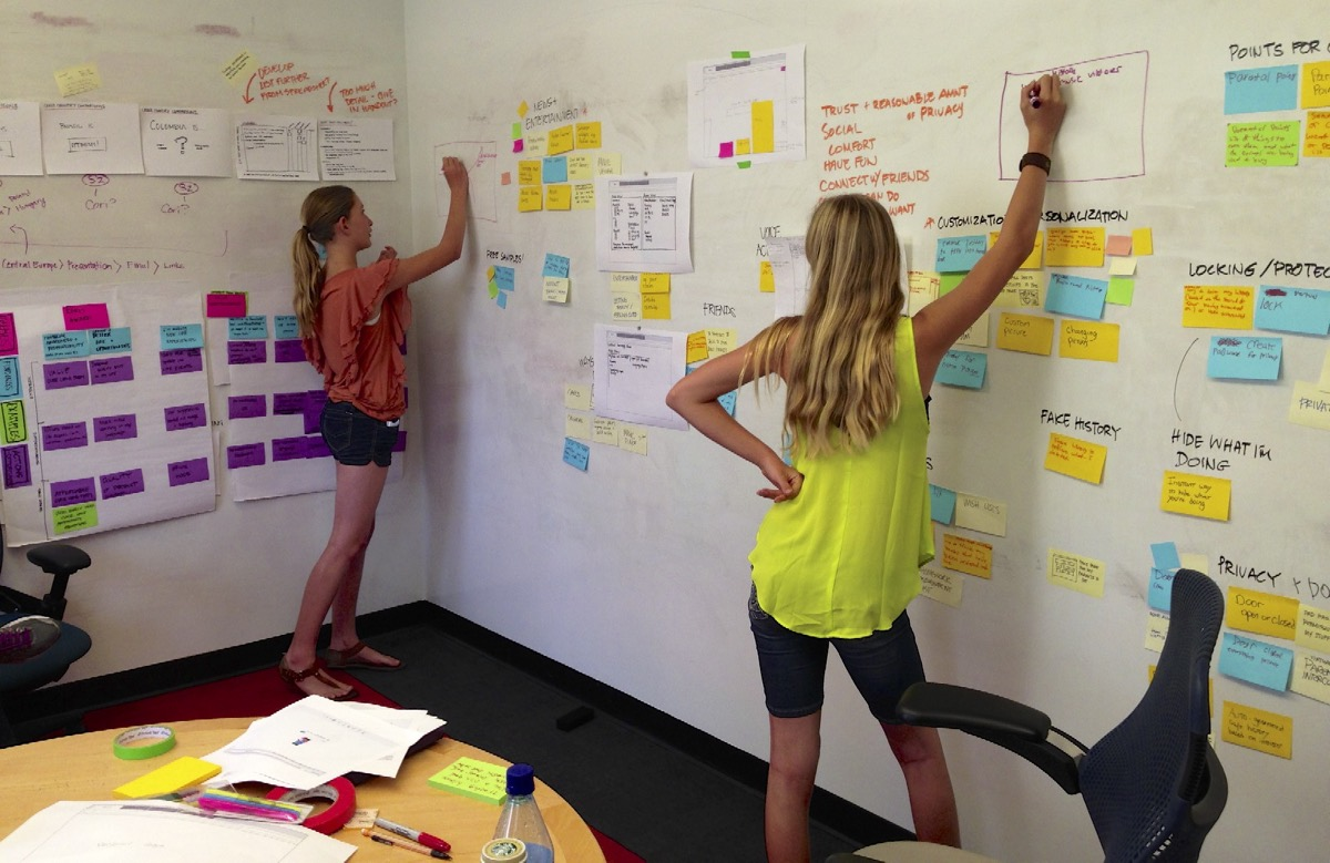 People working on a UX wall