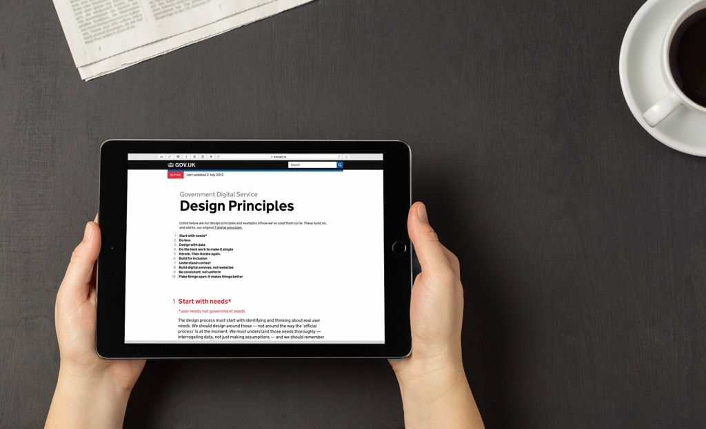 Like the UK Government Digital Service we have a set of design principles we work within.