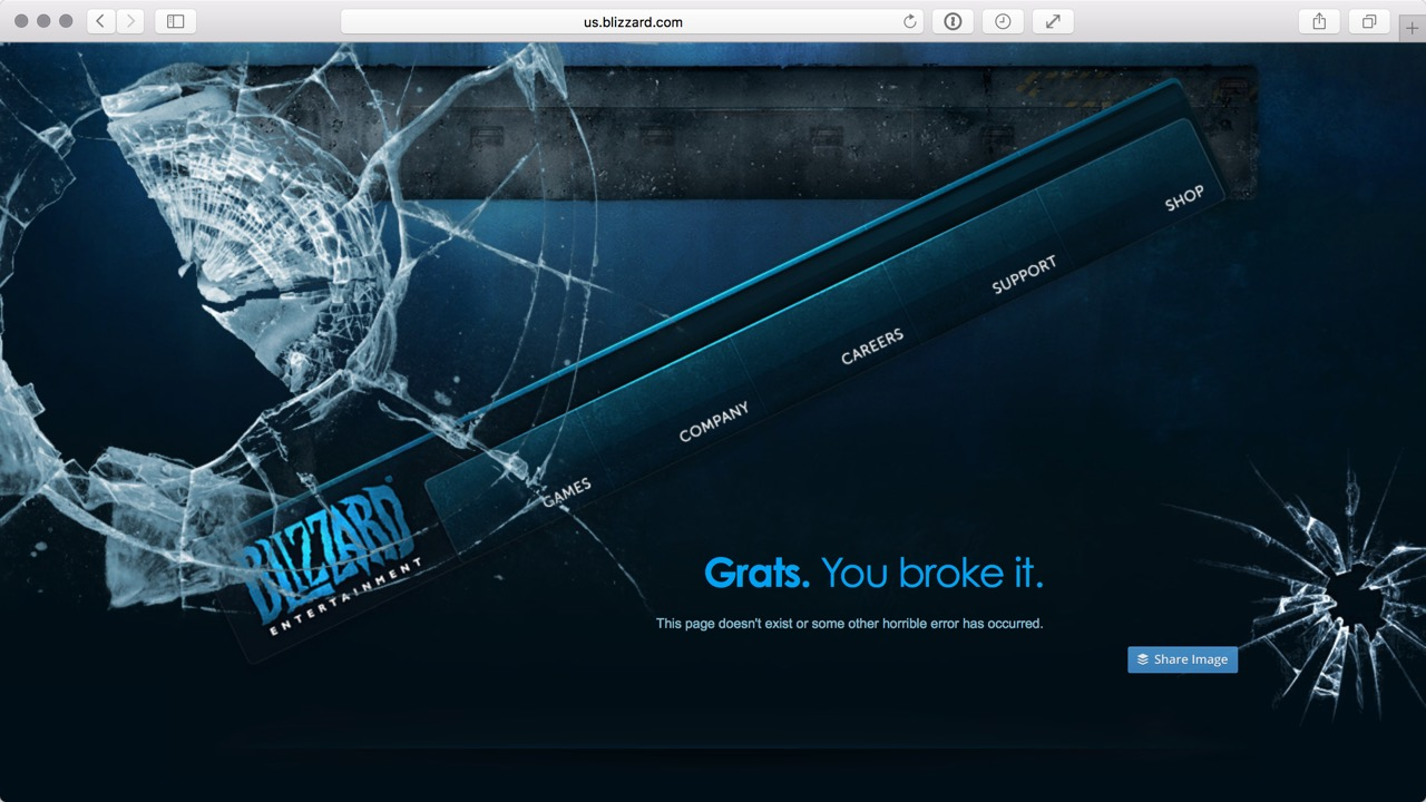 The Blizzard 404 page was featured by Creative Bloqs as an example of a great error page. But in truth it just blames the user and provides no help.