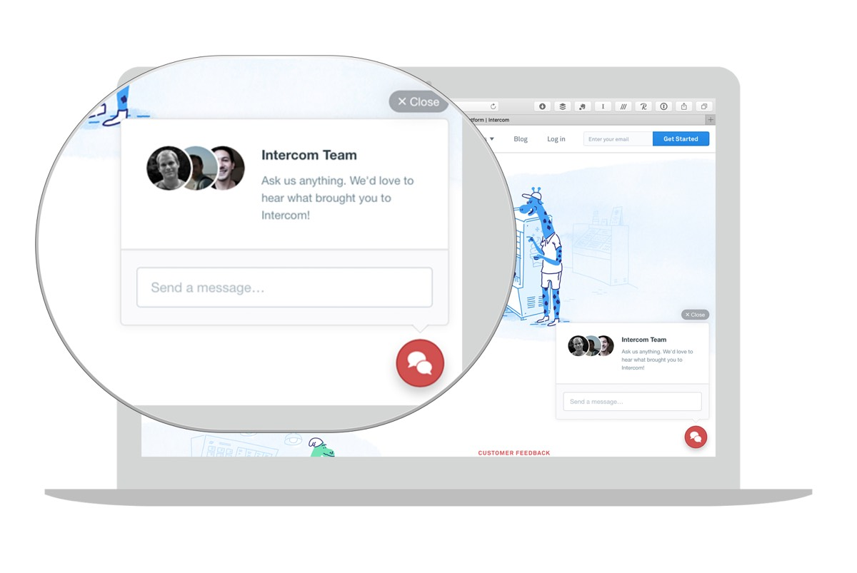 Intercom provides a great experience for users seeking help from a real person.