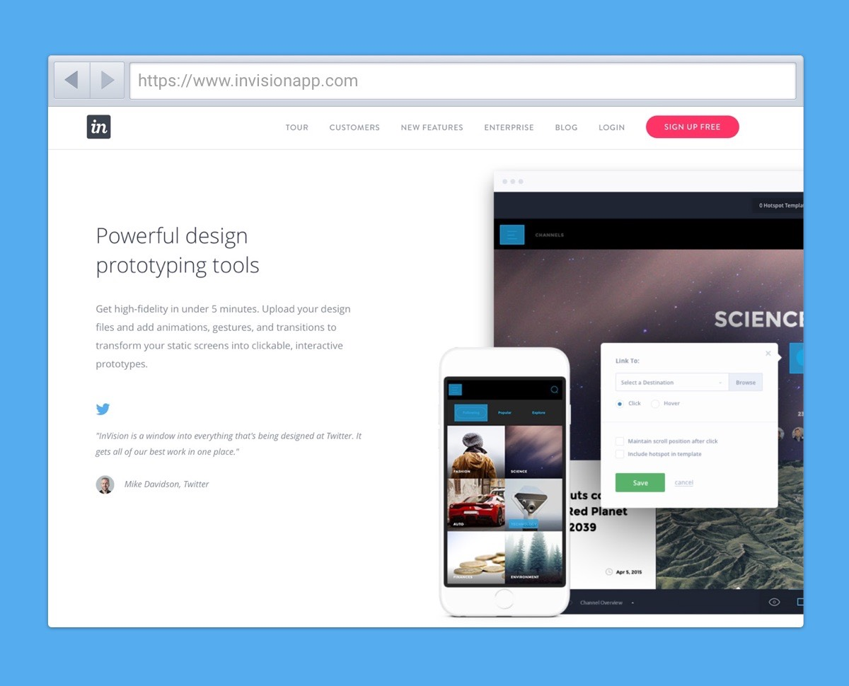Use a tool like Invision to create a prototype to inspire management and colleagues.